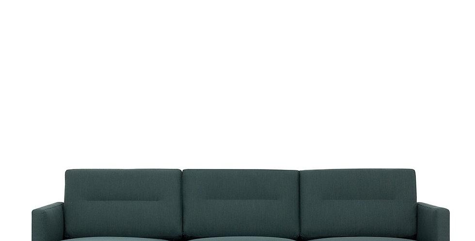 Larvik Chaiselongue Sofa (LH) - Dark Green, Oak Legs
