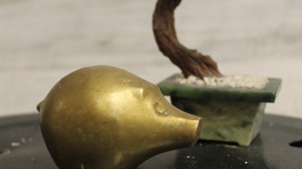 Brass Chubby Pig Figurine-Small