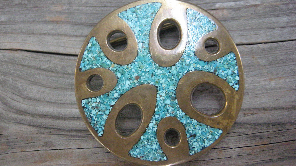 Sterling Silver Buckle with Turquoise Accents