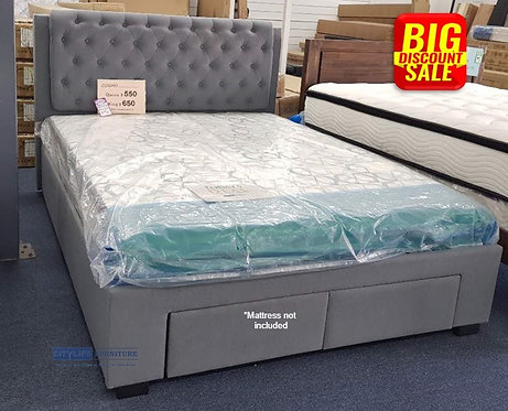 Brand New COSMO II Fabric Denim Bed Frame with Drawers | Citylife Furniture, Brisbane