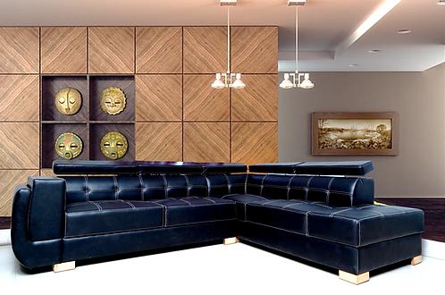 Brand New RIO Corner L Shape Sofa in Black with white Stitching - Citylife Furniture, Brisbane
