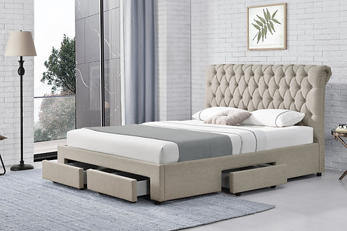 Brand New LEO Fabric Storage Bed Frame in Queen & King sizes | Bed Factorie, Morayfield