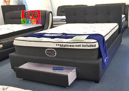 Brand New HAVANA Fabric Black Bed frame with 1 Drawer Storage | Citylife Furniture, Brisbane
