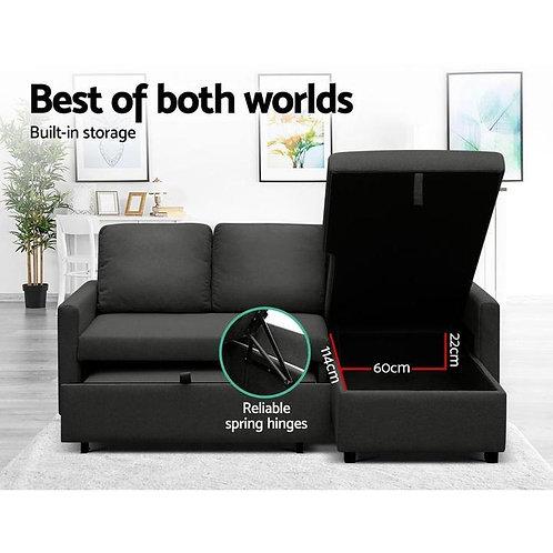 Brand New Transformer Fabric Reversible Chaise Sofa Bed   Black Fabric   Citylife Furniture, Brisbane