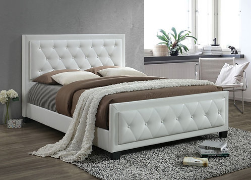 Brand New DAISY Leather Black/White Bed Frame | Citylife Furniture