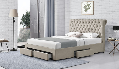 Brand New LEO Fabric Bed Frame with 4 Drawers - Queen size | Citylife Furniture, Brisbane