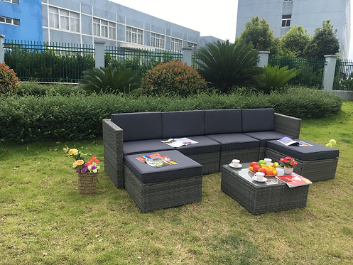New Selina 7pc Outdoor Sofa Setting - Dark Grey Cushions | Citylife Furniture, Brisbane