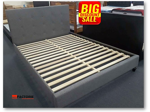 Brand New Metro Fabric Bed Frame in Grey Fabric | Bed Factorie, Morayfield