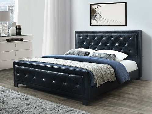 Brand New DAISY PU Leather Black/White Bed Frame | Bed Factorie
