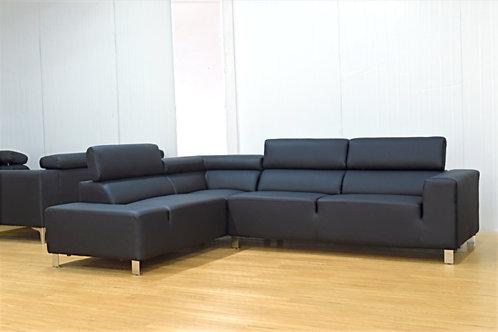 Brand New DENVER Corner Black Leather Sofa - Bed Factorie, Morayfield