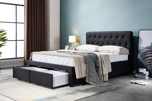 Brand New LEWIS Drawer Fabric Black Bed Frame - Queen/King sizes | Citylife Furniture, Sumner