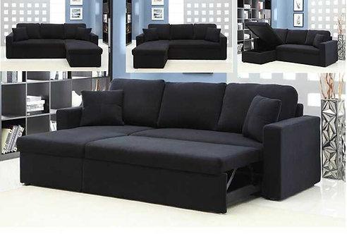 Brand New Transformer Fabric Reversible Chaise Sofa Bed | Black Fabric | Citylife Furniture, Brisbane