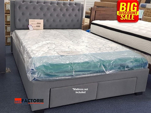Brand New COSMO II Fabric Denim Bed Frame | Bed Factorie