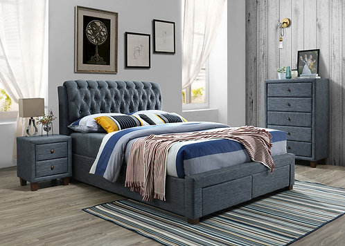 Brand New BYRON Fabric 2 Drawer Bed Frame in Queen/King | Citylife Furniture, Brisbane