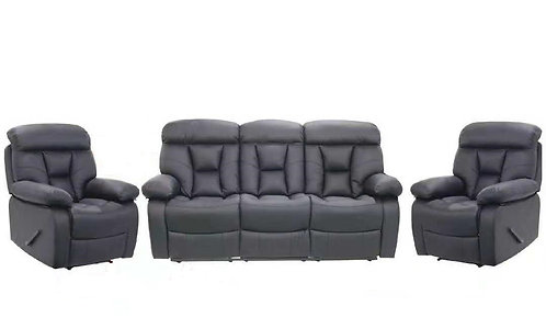 Brand New Venice Lite Recliner Lounge Set - Available in 3RR+R+R in PU Black - Citylife Furniture, Sumner