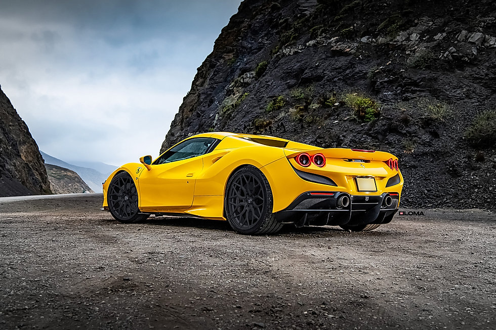 ferrari-f8-custom-wheels-yellow-rear-side-view