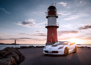 BRUSHED WHITE CORVETTE C7 Z06 WITH LOMA RS1 SUPERLIGHT FORGED WHEELS IN 20/21-INCHES IN THE SUNSET!