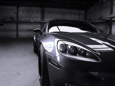 Corvette C6 Widebody Kit in dark grey metallic.