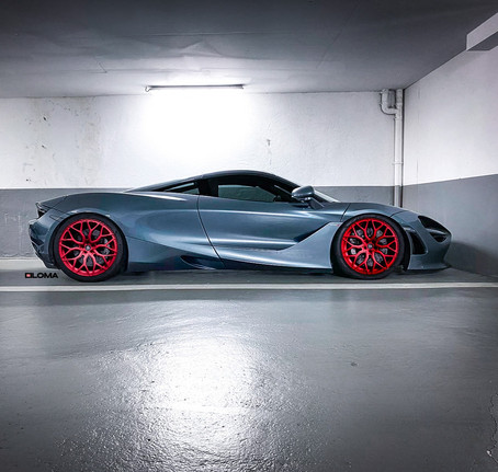 McLaren 720S with Red anodized custom forged concave performance wheels by LOMA in Monte Carlo
