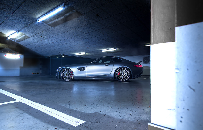 Car: Mercedes AMG GTS   Wheels: LOMA SP1-SL Track Spec Series   Construction: Concave 3-Piece Forged Wheels   Sizes: 20x9,5 Front & 21x11 Rear   Finish: Competition Bronze