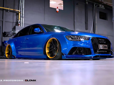 666 XENONZ AUDI A7 WIDEBODY IS ROLLING ON LOMA SP1-SL TRACK SPEC DEEP DISH WHEELS IN 20-INCHES.