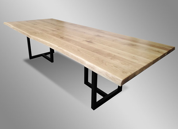 Oak Liveedge Dining Table (w/ Metal)
