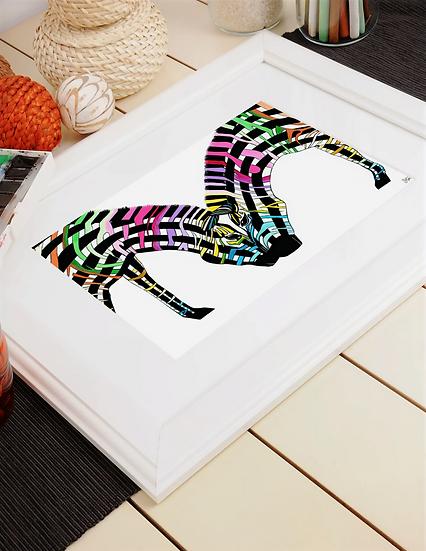 Zebra Date A4 Mounted Print