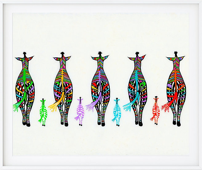 Five Zebra's Giclée Print
