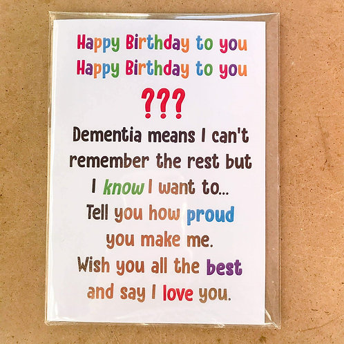 From the person with dementia