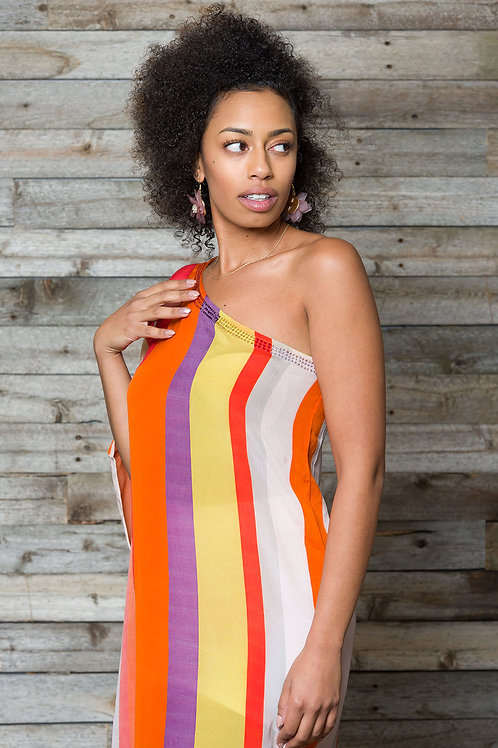 one shoulder dress, kaftan, maxi dress, stripe dress, multicolor, silk, evening