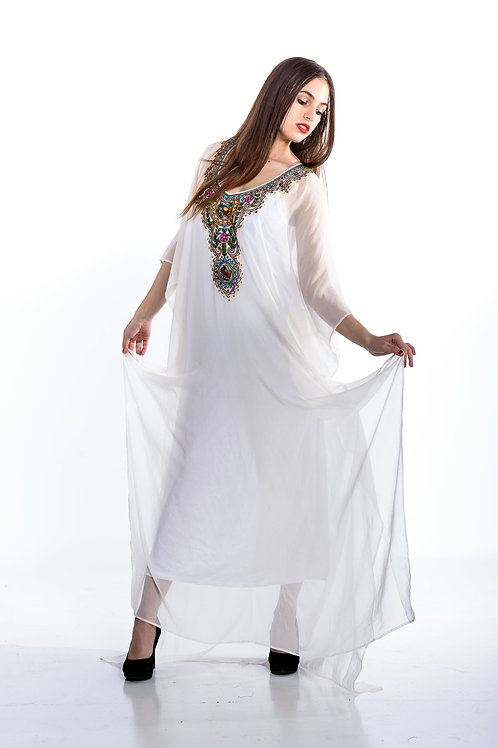 Boho kaftan WHITE kaftan dress long caftan maxi dress embroidered bohemian dress