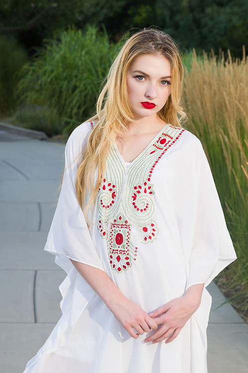 White embroidered kaftan,Short dress, Beaded caftan