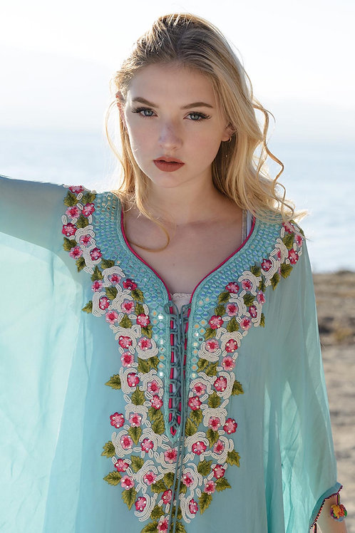 Blue kaftan dress beaded Caftan Dress Cover Up for beach weddings bridesmaids