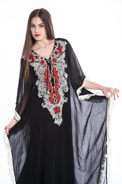 Black kaftan, embroidered kaftan, maxi dress, long kaftan, maxi dresses, sheer
