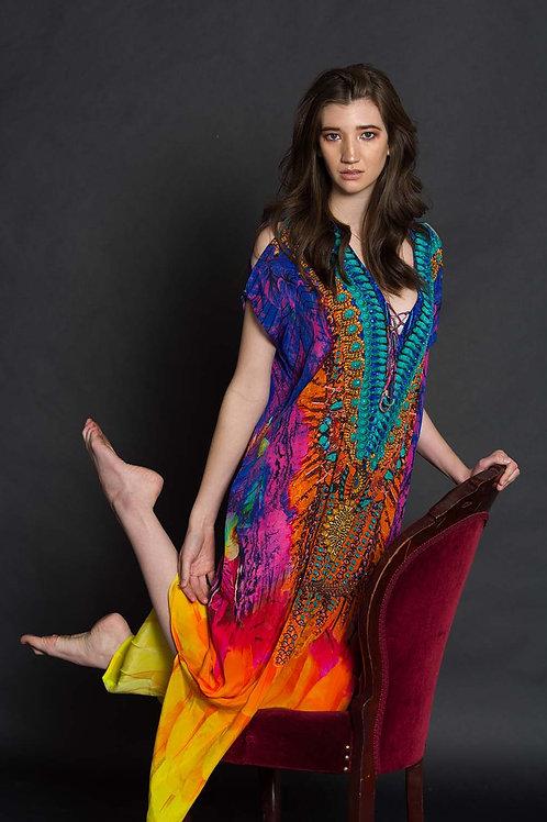 New, kaftan maxi dress, digital print, caftan, multicolor, 100% silk kaftan dress