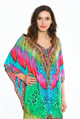 Kaftan beach dresses, short kaftan dress in leopard animal print, lace up caftan