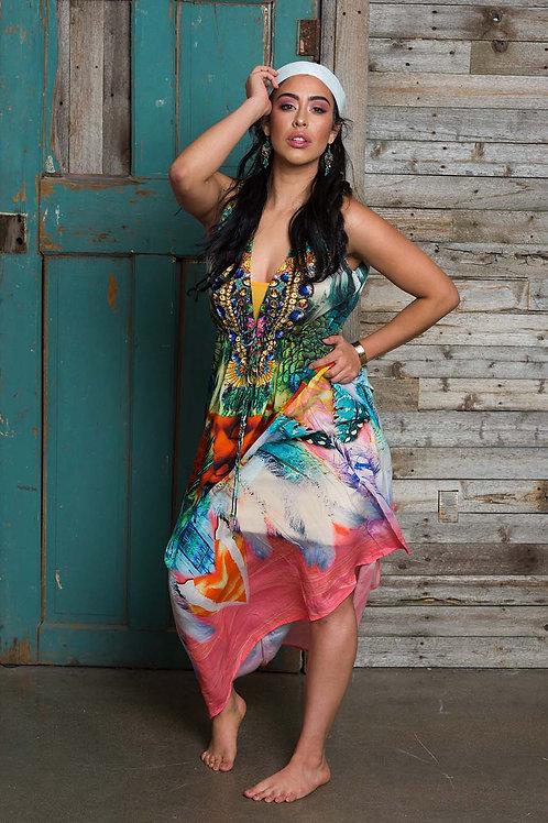 kaftan maxi dress, caftan, multicolor, bohemian dress, 100% silk, floral maxi