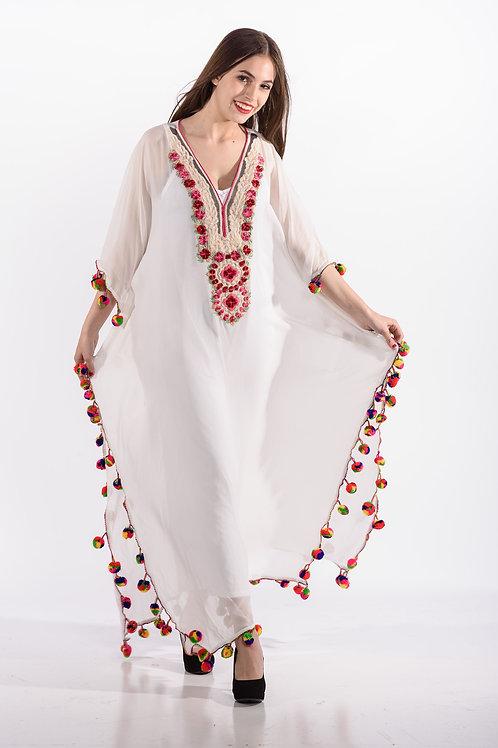 22 Boho kaftan WHITE kaftan dress long caftan maxi dress embroidered bohemian dress