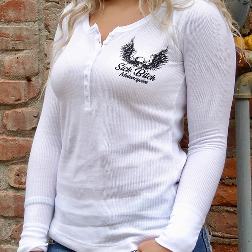 Sick Bitch Motorcycles Ladies' White Henley Thermal Long Sleeve
