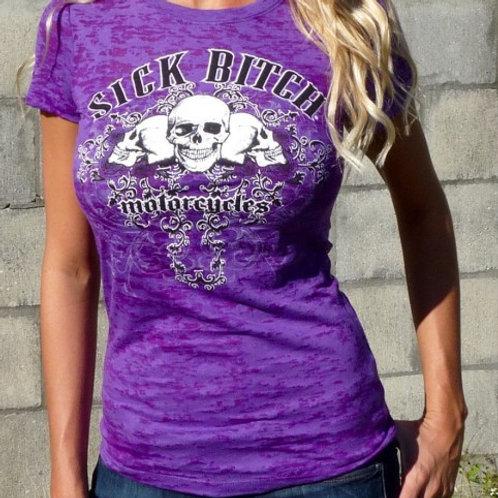 Sick Bitch Motorcycles Women's Purple Burnout T-shirt