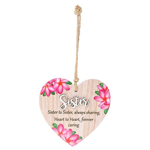 Pretty Words Hanging Heart Sister