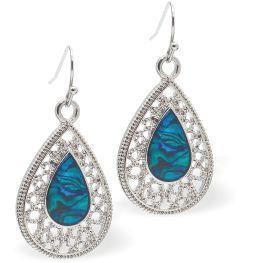 Paua Shell Filigree Teardrop Drop Earrings