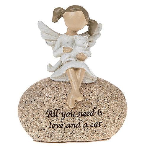 Sentiment Stone Angel & Cat