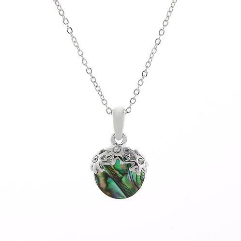Paua Shell Floral Drop Necklace