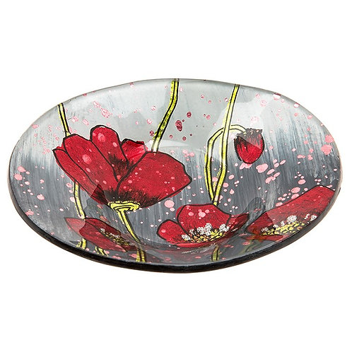 Modern Poppy Glass Mini Oval Bowl