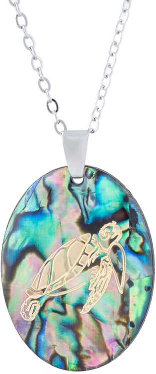 Paua Shell Oval Necklace with Turtle