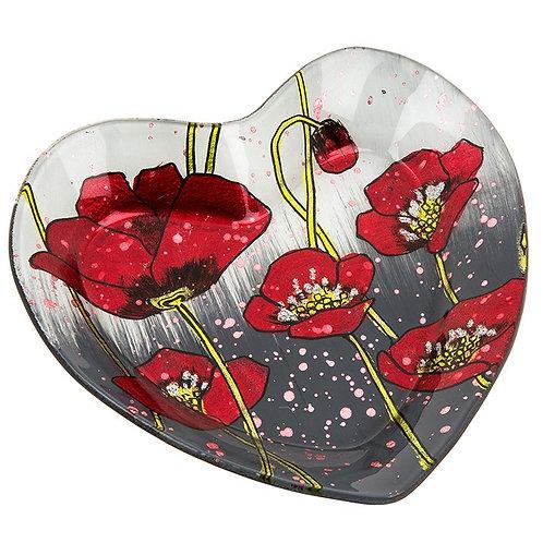 Modern Poppy Heart Shaped Glass Dish