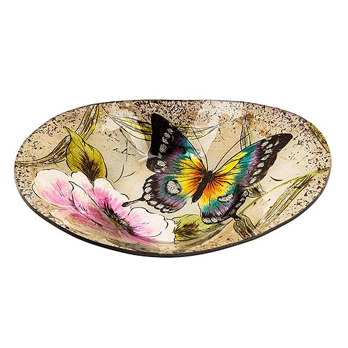 Peacock Butterfly Small Oval Glass Bowl