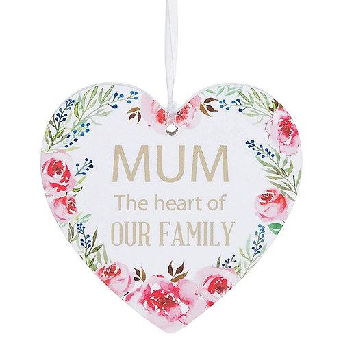Fleur Heart Plaque Mum