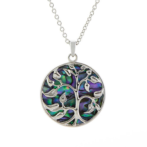 Paua Shell Tree of Life Necklace, Large